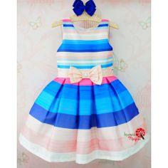 Vestido de Festa Infantil Azul e Pink Petit Cherie