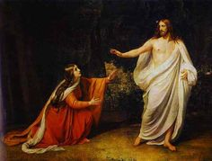 """Mary's Encounter With the Resurrected Jesus. BIBLE SCRIPTURE: John 20:16, """"Jesus saith unto her, Mary. She turned herself, and saith unto him, Rabboni; which is to say, Master."""" - http://access-jesus.com/John/John_20.html"""
