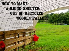 Projects Pallet How to Make a Quick Shelter out of Pallets - The Free Range Life - Learn how to make a quick shelter out of pallets! Great for a run-in shed for goats, alpacas or any other farm animal! Horse Shelter, Sheep Shelter, Pallet Barn, Pallet Fencing, Pallet House, Cattle Panels, Run In Shed, Goat Farming, Down On The Farm