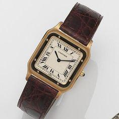 Cartier. A fine 18ct gold manual wind wristwatch