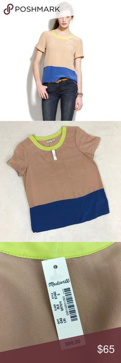 "NWT Madewell Broadway & Broome Silk Top Broadway & Broome For Madewell Colorband Tee. 100% silk tan top with thick blue stripe at bottom and bright neckline. Breast pocket. Size small. Approximate measurements: length: 24"", pit-to-pit: 19.5"". New with tags. Reasonable offers welcome. Bundle your likes for an exclusive offer! No trades or modeling. Madewell Tops"