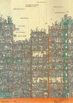 東洋の魔窟「九龍城砦」の内部構造が詳細に描かれたパノラマ断面図 - DNA