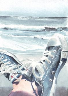This watercolor illustrates a moment on the #beach in #Converse #Chucks.