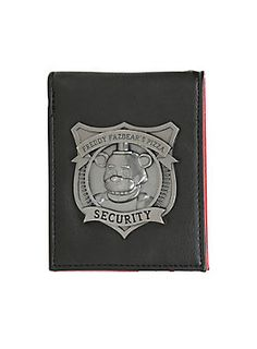 "<p>Black & red faux leather bi-fold wallet from <i>Five Nights At Freddy's</i> with an attached die-cast metal Freddy Fazbear's Pizza Security badge design. Interior features an embossed <i>Five Nights At Freddy's</i> logo, a billfold, card slots and a clear ID display. Metal grommet on fold.</p>  <p>Hot Topic exclusive!</p>  <ul> 	<li>4 1/4"" x 3 1/4""</li> 	<li>PU upper</li> 	<li>Polyester lining</li> 	<li>Imported</li> </ul>"