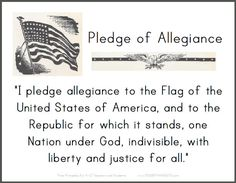 Pledge of Allegiance - Printable Sign for Classrooms