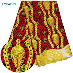 Luxury yellow/red color wedding/party African senior batik ankara wax lace fabric with stones for beautiful evening dress 6 yds