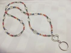 Multicolored Heart Accented Lanyard
