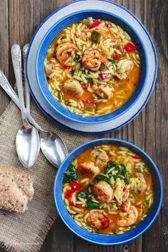 This the BEST shrimp soup ever! So easy to make and so much flavor! Mediterranean shrimp soup with a tomato-based broth, vegetables, baby spinach, and loads of fresh herbs! Fresh lemon juice brings everything together. Healthy Soup Recipes, Fish Recipes, Vegetable Recipes, Seafood Recipes, Cooking Recipes, Shrimp Orzo, Shrimp Soup, Mediterranean Diet Recipes, Mediterranean Dishes
