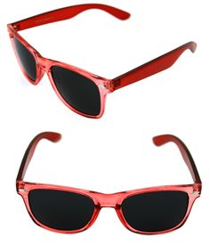 3341f4dcac Details about Men s Women s clear Red Frame Sunglasses Horn square Rimmed Black  Lenses 80 s