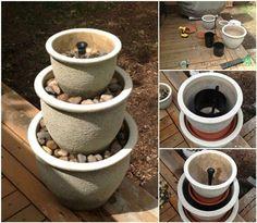 40+ Creative DIY Water Features For Your Garden --> DIY Plant Pot Water Fountain #water #feature #garden #fountain