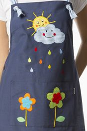 Stole for teacher with a sun and cloud drawing embroidered on the yoke smile . - Stole for teacher with a sun and cloud drawing embroidered on the yoke smiling with colored raindro - Teacher Apron, Sewing Crafts, Sewing Projects, Adult Bibs, Cute Aprons, Sewing Aprons, Recycle Jeans, Creation Couture, Kitchen Aprons
