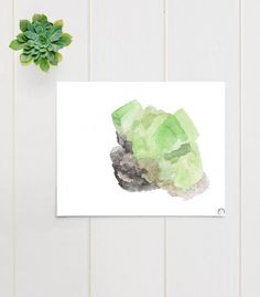 Peridot Geode  This is an archival print of my original watercolor painting.  The subject is a Peridot crystal geode, natural specimen rock.  SIZE: 8X10 inches (20cmX 25cm)  MATERIALS: Pigment inks on 100% cotton, bright white, 210gsm fine art paper which is eco friendly and archival.  SIGNATURE: Teodora Opris printer's chop mark, bottom right.  CARE INSTRUCTIONS: In order to keep your print in great condition it is important to frame with archival materials (mattes, backing board etc)…