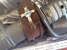Men's Leather Cuff Sacred Heart Cross Men's Cuff by Ivanwerks