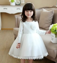 White Lace Dress-Exquisite White Long Sleeve Knee Length Big Bow Back Lace Baby Girl Dress Perfect for Baptism, Communion, Christening, Wedding Available from 3 month until 12 years old  Material: Lace, tulle mesh, satin