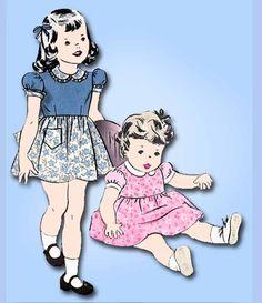 1940s Vintage Hollywood Sewing Pattern 1140 Toddler Girls Dress w Apple App Sz 4