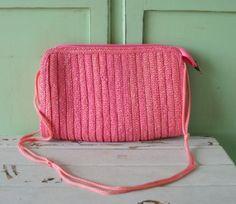 Vintage PRETTY IN PINK Straw Purse... retro. purse. by retroandme, $24.00