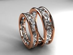 Rose and white gold filigree wedding band set with diamonds by TorkkeliJewellery, $2690.00
