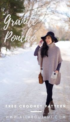 Crochet this stunning poncho with a turtleneck, beautiful ribbed detailing and stylish pockets using the granite stitch! Free pattern and step-by-step tutorial available! Crochet Blouse, Knit Or Crochet, Crochet Poncho Patterns, Free Crochet, Sweater Patterns, Crochet Sweaters, Crochet Tops, Crochet Crafts, Yarn Crafts