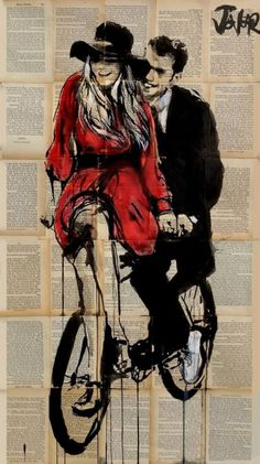 ARTFINDER: Days in Bliss by Loui Jover - ink and gouache on vintage book pages, adhered together to create one sheet ready for framing as desired.. part of an ongoing series of works featuring coupl...
