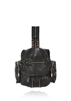 MINI MARTI BACKPACK IN WASHED BLACK WITH ROSE GOLD