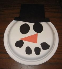 Free Preschool Christmas Crafts | Preschool Art Snowman Paper Plate Face