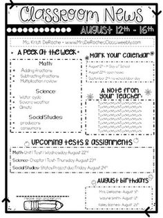 Classroom Newsletter Template- EDITABLE- Printer Friendly <br> I love having a newsletter to send home every week. It allows me to communicate with parents as well as keep students organized. This is 3 different types of newsletters. Class Newsletter Template, Teacher Newsletter, Weekly Classroom Newsletter, Newsletter Ideas, Newsletter Design, 3rd Grade Classroom, School Classroom, Back To School Teacher, Future Classroom