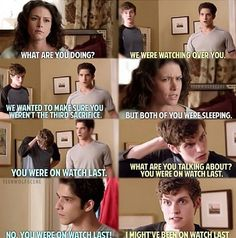 Scott and Melissa McCall and Isaac Lahey ~ hahahaaaa I haven't watched this episode yet though!! :(
