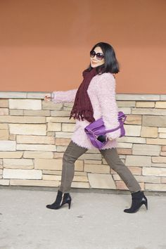 Petite street style Shein pink  coat +Forever 21 Burgundy scarf+ Lord & Taylor cashmere sweater+ True Religion olive jeans+ Sofft  booties+ AZLIA NEW YORK purple leather bag+Chloe sunglasses