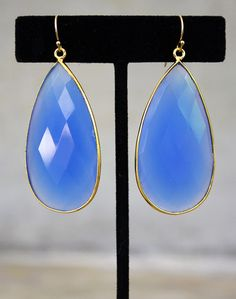 blue chalcedony drop earrings