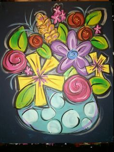 Lots of flowers vase canvas painting ideas рисунки, творчество, цветы.