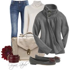 An outfit that will keep one cozy all day and evening.