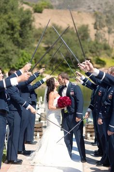 This is a great idea for an air force wedding Army Wedding, Sister Wedding, Wedding Pictures, Military Weddings, Gold Wedding, Wedding Ceremony, Air Force Wedding, Perfect Wedding, Dream Wedding