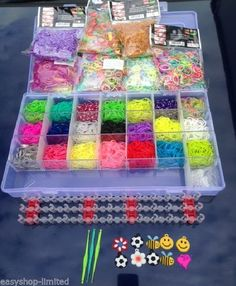 Colourful Rainbow Rubber Loom Bands Bracelet Making Kit Box Set With S-Clips