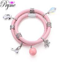 Pryme 39CM Leather Magnet Buckle Bracelets&Bangle Copper Platinum Plated…