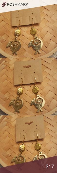 Raw Brass sankofa bird charms Dangle earrings Raw brass sankofa bird xharns earrings with roubd gold pewter disk.  Hypoallergenic gold lever backs ear wires.   Light weight.   1 1/2 inches in length Jewelry Earrings