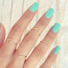 jewels, mint nailpolish, jewelry, ring, gold ring, pretty, mint, nail polish, summer - Wheretoget