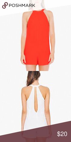 NWT American Apparel keyhole romper NWT American Apparel romper in tango red. Back keyhole. Zipper closure. Please no trading. Other