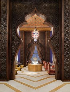 Al Nafoorah Restaurant entrance at the Jumeirah Zabeel Saray Hotel, Dubai designed by Engin Urun of ARKETIPOdesign