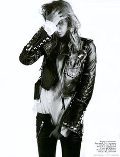 Daria Werbowy #rock #leather #jacket