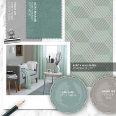 Monday Moodboard - Get fresh with shades of mouthwatering mint! This bold pastel will add contemporary colour whilst creating a relaxing mood for your lounge. Living Room Ideas Grey And Green, Green Family Rooms, Mint Living Rooms, Green Rooms, Lounge Colour Schemes, Kitchen Colour Schemes, Room Color Schemes, Room Colors, Lounge Design