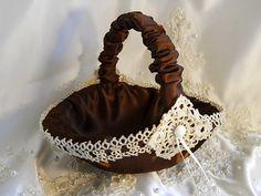 Satin Flower Girl Basket handmade of chocolate brown by PapernLace, $29.95 www.celebrationsbykat.com