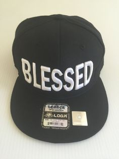 bfe87a07c44de Black  amp  White Embroidered Flat Bill Blessed Hat by TheGOCShop on Etsy  https
