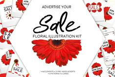 Floral Illustration SALE Advert Kit by Gina Heyer on Floral Illustrations, Graphic Illustration, Pink And White Background, Summer Poster, Catering Display, Tile Patterns, Heart Patterns, Kit, Summer Sale