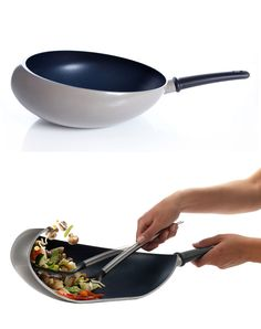 Boomerang Wok + Sautee Pan. The cupped edge keeps ingredients inside when stir frying. By Nikolai Carels.