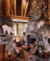The stacked stone fireplace pictures featured here showcase the extraordinary work of Locati Architects. Based in Bozeman, Montana, the firm's fireplace creations are -- in a word -- STUPENDOUS! Stone Fireplace Pictures, Stone Fireplace Designs, Stone Fireplace Surround, Stone Mantel, Wood Fireplace Mantel, Custom Fireplace, Home Fireplace, Fireplace Ideas, River Rock Fireplaces