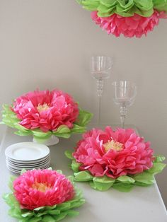 Hanging Paper Flower Set of 4 by Heart to Heart at Gilt