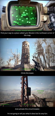 Fallout 4 - Looking for something to do in Fallout Done this before I found the pin, and it is fun! - Enjoyed Fallout own but havent played Vegas yet, but this one looks like fun too! Fallout 4 Secrets, Fallout 4 Tips, Fallout Funny, Fallout Art, Fallout Quotes, Fallout 4 Survival, Video Game Memes, Video Game Art, Fall Out 4
