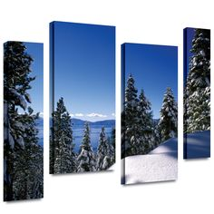 'Lake Tahoe in Winter' by Kathy Yates 4 Piece Photographic Print Gallery-Wrapped on Canvas Set