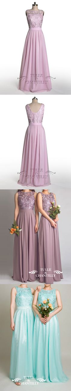 vintage lace bridesmaid dresses with flowing skirts in lavender and sky blue