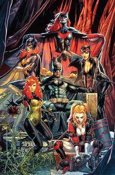 Detective Comics variant cover - Batman, Batgirl, Batwoman, Catwoman, Poison Ivy and Harley Quinn by Jay Anacleto * Batman Artwork, Batman Comic Art, Batman Dc Comics, Dc Comics Heroes, Gotham City, Dc Comics Collection, Batman Detective Comics, Batman And Catwoman, Catwoman Comic